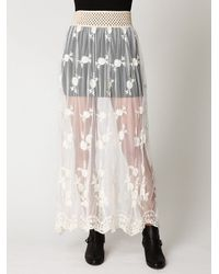 Free People - White Provincial Embroidered Maxi Skirt - Lyst