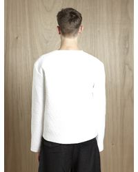 Jil Sander White Jil Sander Mens Quilted Long Sleeve T-shirt for men