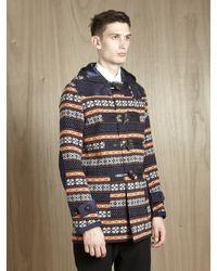 Junya Watanabe Multicolor Mens Wool Fair Isle Duffel Coat for men