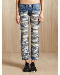 Junya Watanabe - Blue Womens Distressed Patchwork Jeans - Lyst