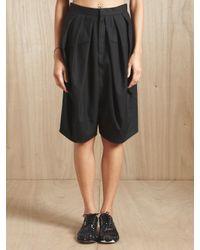 Junya Watanabe Black Junya Watanabe Womens Wool Serge Dropped Crotch Shorts