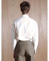 Nigel Cabourn White Nigel Cabourn Mens Button Down Oxford Shirt for men