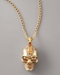 Alexander McQueen | Metallic Skull Pendant Necklace/old Gold | Lyst