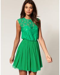 ASOS Collection | Green Asos Skater Dress with Lace and Mesh | Lyst