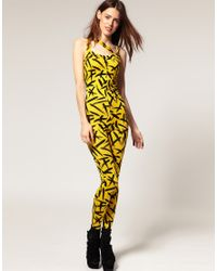 ASOS Collection | Multicolor Asos Unitard in Brush Stroke Print | Lyst