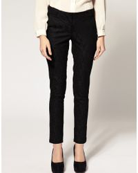 ASOS Collection | Red Asos Petite Exclusive Lace Skinny Trousers | Lyst