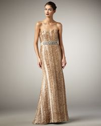 Badgley Mischka | Natural Strapless Ribbon Belted Gown | Lyst