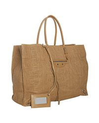 Balenciaga | Brown Crosshatched Leather Papier Tote | Lyst