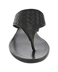 Bottega Veneta - Black Intrecciato Leather Thong Sandals - Lyst