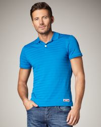 Burberry Sport - Blue Textured-stripe Polo for Men - Lyst