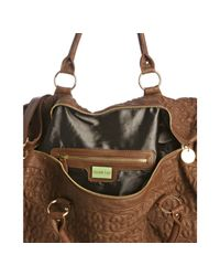 Deux Lux - Brown Saddle Quilted Heart Love Drops Overnight Bag - Lyst