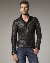 DIESEL - Black Lujon Leather Jacket for Men - Lyst