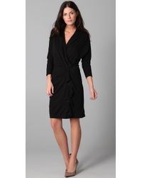 DKNY - Black Dolman Sleeve Cross Front Dress - Lyst
