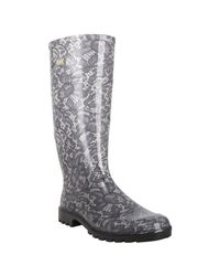 Dolce & Gabbana | Black and Beige Lace Patterned Rubber Rain Boots | Lyst