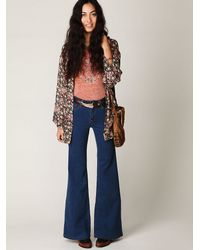 Free People | Blue High Waisted Flares | Lyst