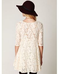 Free People | Natural Miles Of Lace Dress | Lyst