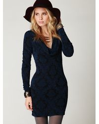 Free People | Black Cowl Neck Textured Ginger Tunic | Lyst
