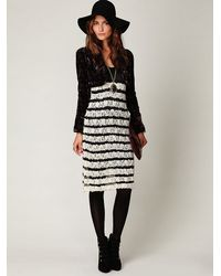 Free People - Black Crochet and Lace Sweater Dress - Lyst