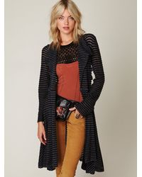 Free People | Black Sheer Stripe Long Cardigan | Lyst