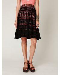 Free People - Black Crochet Skirt - Lyst
