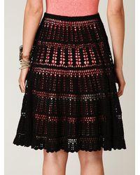 Free People | Black Crochet Skirt | Lyst