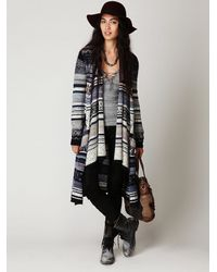 Free People | Blue Fairisle Long Cardigan | Lyst