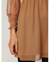 Free People | Brown Vintage Lace Long Sleeve Dress | Lyst