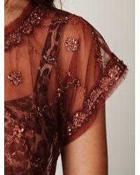 Free People - Brown Crafty Embellished Crop Tee - Lyst