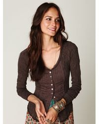 Free People | Brown Gypsy Buttonfront Long Sleeve Top | Lyst