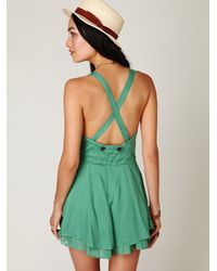 Free People - Green Summer Day Solid Romper - Lyst