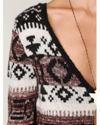 Free People | Gray Fairisle Vneck Pullover | Lyst