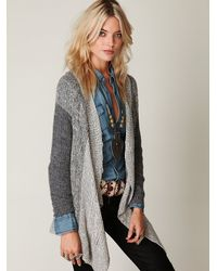 Free People | Gray Cable Swing Cardigan | Lyst