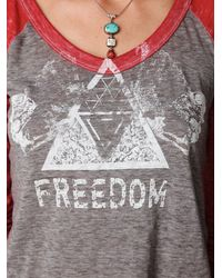 Free People - Gray Freedom Baseball Tee - Lyst