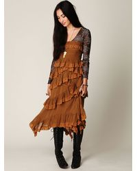 Free People | Brown Babel Solid Silk Ruffle Dress | Lyst