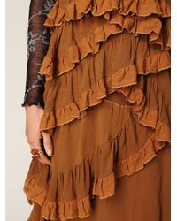 Free People - Brown Babel Solid Silk Ruffle Dress - Lyst