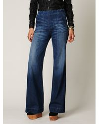 Free People | Blue Darted High Waist Jeans | Lyst