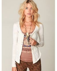 Free People | White Gypsy Buttonfront Long Sleeve Top | Lyst