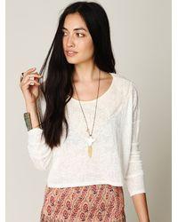 Free People - White Long Sleeve Delicate Crop Top - Lyst