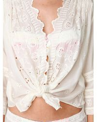 Free People - White Long Sleeve Embroidered Hi Back Buttondown - Lyst