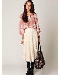 Free People | White Tea Length Crochet Skirt | Lyst