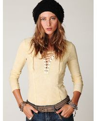 Free People - Yellow Chilton Lace Up Long Sleeve Top - Lyst