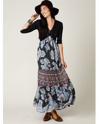 Free People Blue Ethnic Rose Maxi Dress