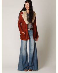 Free People - Red Fur Collar Belted Coat - Lyst