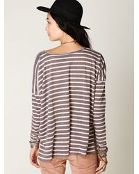 Free People | Blue Striped Long Sleeve Boxy Tee | Lyst