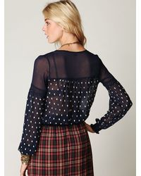 Free People - Blue Polka Dotted Boho Top - Lyst