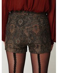 Free People - Green Fp High Waisted Printed Shorts - Lyst