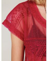 Free People - Embroidered Mesh Crop Top - Lyst