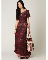 Free People | Brown Hand Crochet Maxi Dress | Lyst