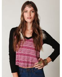 Free People | Black Bandana Baseball Baby Tee | Lyst