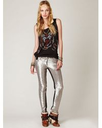 Free People | Metallic Distressed Sequin Pants | Lyst